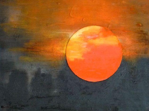 Zon schilderij van irene van uxem for Schilderij zeezicht